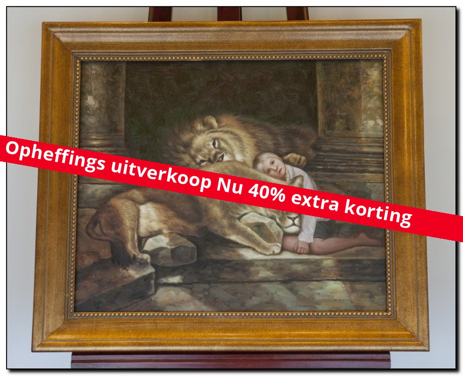 Schilderij het meisje bij de leeuwen mypainting - Schilderij voor meisje slaapkamer ...