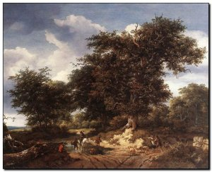 Schilderij VanRuysdael, Great Oak 1652