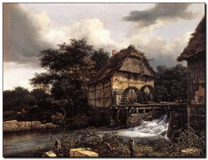 Schilderij VanRuysdael, Watermills and Open Sluice