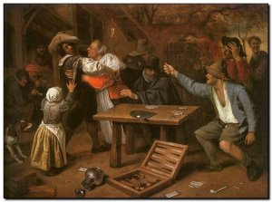 Schilderij Steen, Card Players Quarreling 1664f