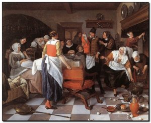 Schilderij Steen, Celebrating Birth 1664