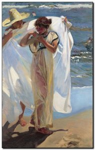 Schilderij Sorolla, After Bath 1908