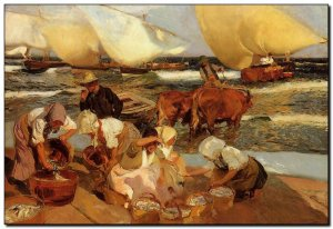 Schilderij Sorolla, Beach at Valencia (or Afternoo