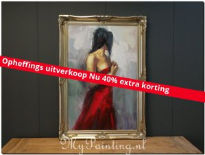 Schilderij Flora lady in red