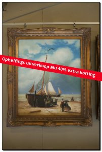 Painting Reproduction Koekkoek, Ship on the beach